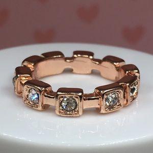 14k rose gold plated ring sz 8 CZ diamond